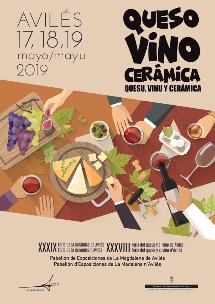 Cartel festival queso vino y ceramica aviles 2019